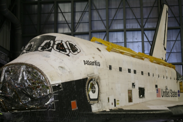 Shuttle Atlantis in Vehicle Assembly Building Being Prepped for Display
