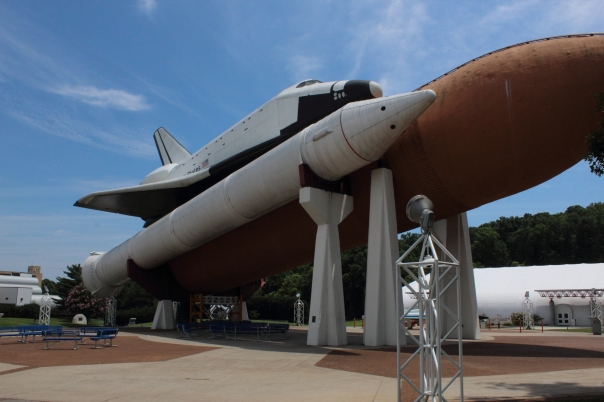 A full sized mockup space shuttle attached to an actual external fuel tank at Space Camp
