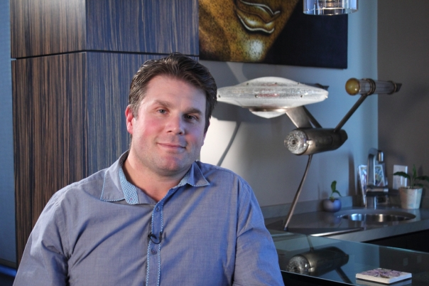 Rod Roddenberry during Chasing Atlantis Interview. Yes, that Enterprise in the back is completely made of glass and one of a kind