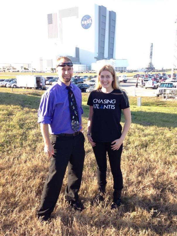 Ryan Kobrick (left) with Astronaut Abby (right) Nice shirt!