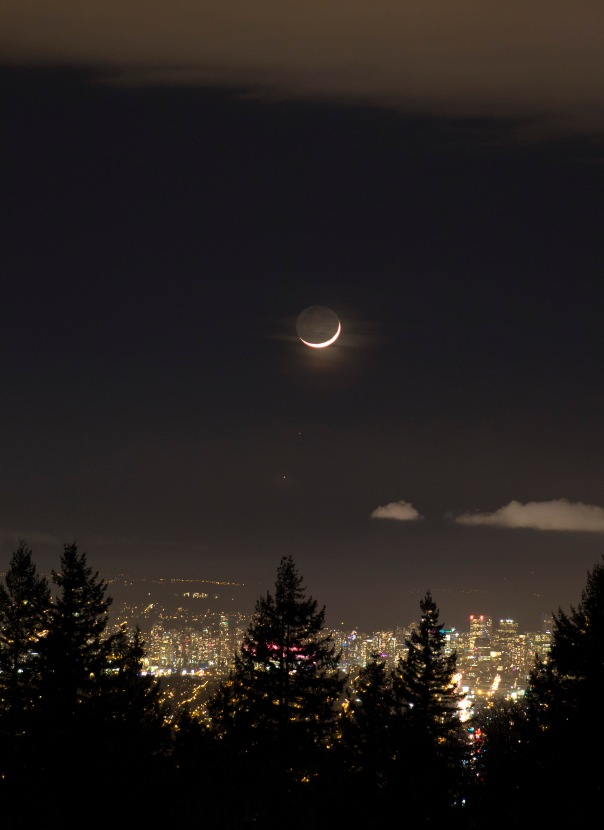 Moon, Mars, and Venus in order from highest to lowest against the Vancouver Skyline
