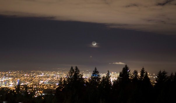 Moon and Venus over Vancouver